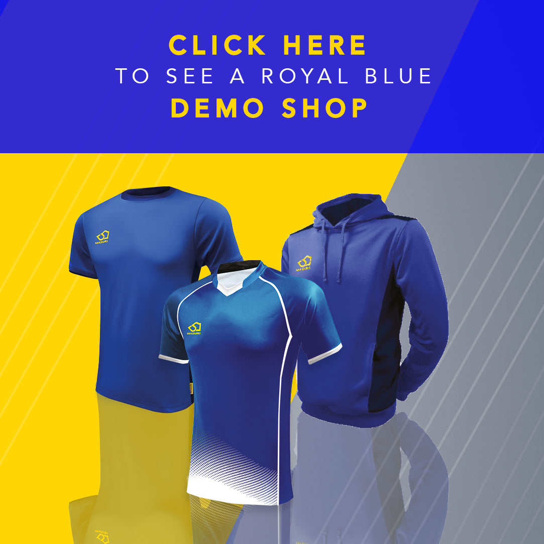 Royal blue demonstration cricket shop