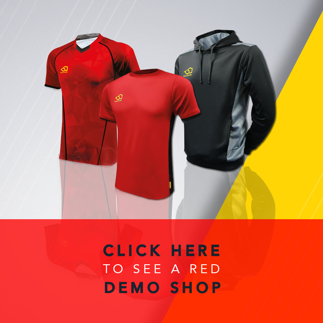 Red / Black demonstration cricket shop