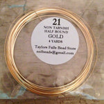 21 gauge HALF ROUND non tarnish gold wire