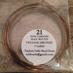 21 gauge  HALF ROUND non tarnish vintage bronze wire