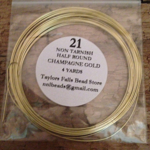 21 gauge HALF ROUND non tarnish champagne gold wire