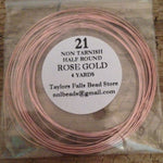 21 gauge HALF ROUND non tarnish rose gold wire