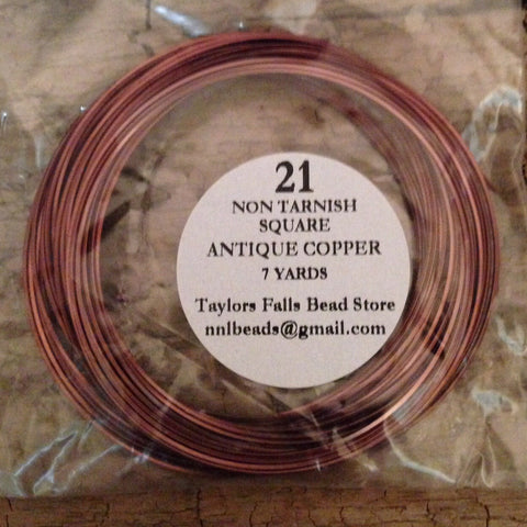 21 gauge SQUARE non tarnish antique copper wire