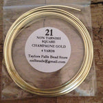 21 gauge SQUARE non tarnish champagne gold wire
