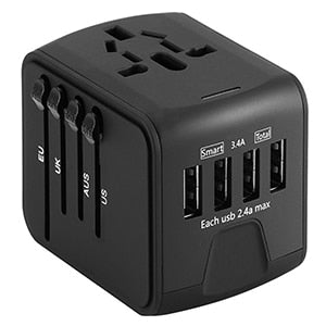 Universal Power Adapter All-in-one with 6.3A 4 USB Worldwide