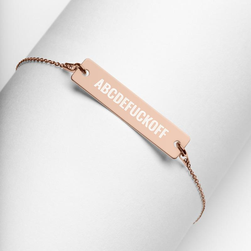 ABCDEFUCKOFF Engraved Bar Chain Bracelet