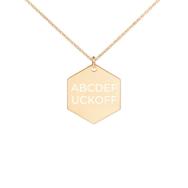 ABCDEFUCKOFF Engraved Hexagon Necklace | Soap Dropper