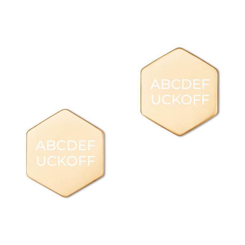 ABCDEFUCKOFF Sterling Silver Hexagon Stud Earrings