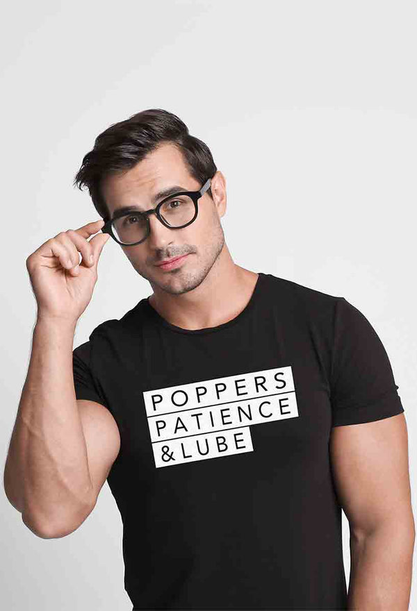 Poppers Patience & Lube,  Fitted T-Shirt