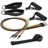 Resistance Bands with Handles & Door Anchor :: Rubber Stretch Fitness Training Tube Band Set Comes with Leg Straps and Exercise Chart