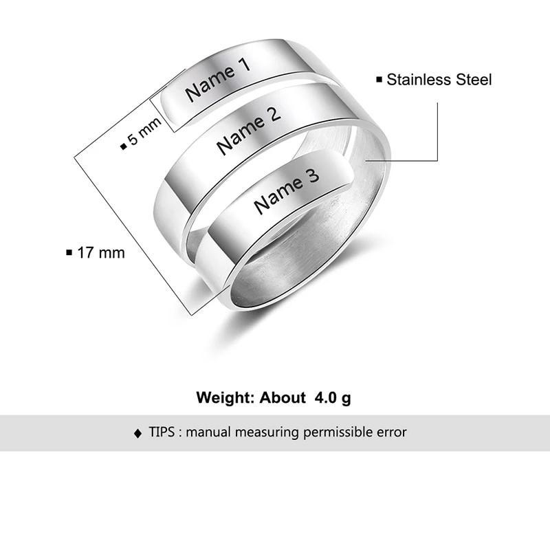Personalized Adjustable 3 Name Rings - Personalized Jewellery