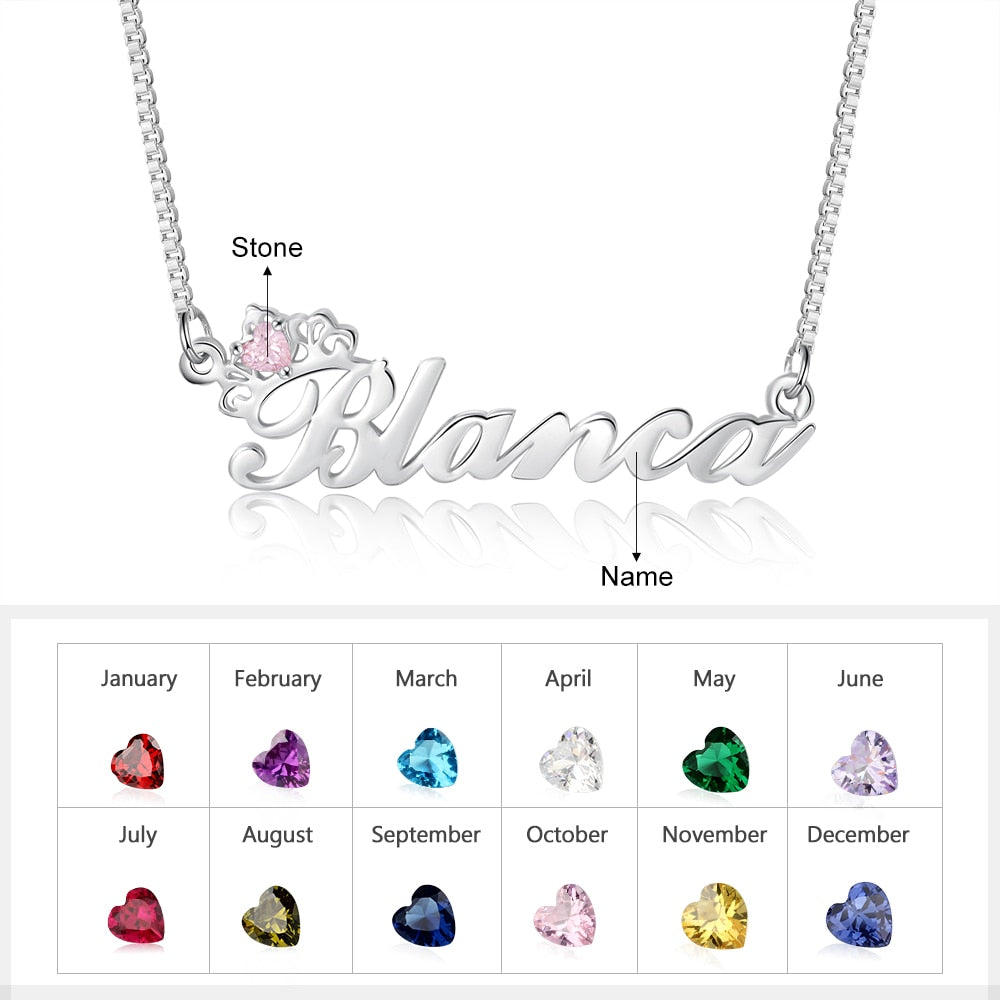 Personalized Birthstone Ratu Name Necklace - Personalized Jewellery
