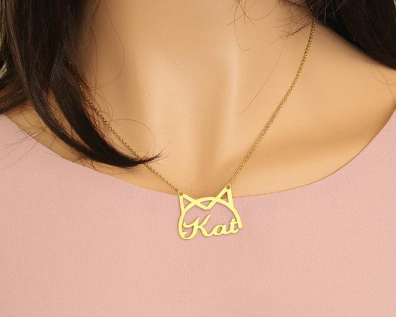 Personalized Kitty Name Necklace - Personalized Jewellery