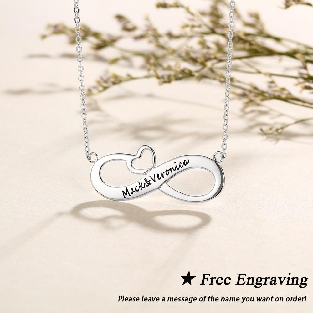 Personalized Heart Infinity Necklace - Personalized Jewellery