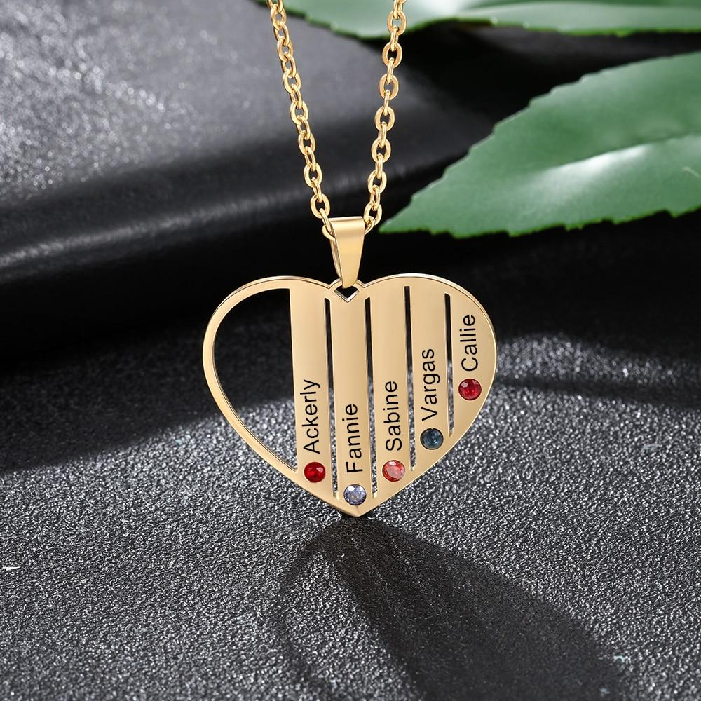 Engraved Heart Mother Birthstones Necklaces - Personalized Jewellery