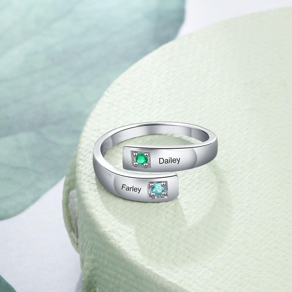 Personalized Adjustable Double Birthstone Rings - Personalized Jewellery