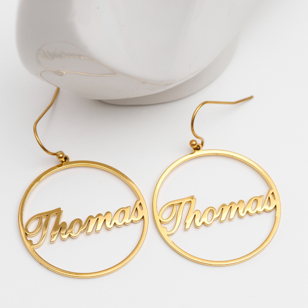 Personalized Circuli Name Earrings - Personalized Jewellery
