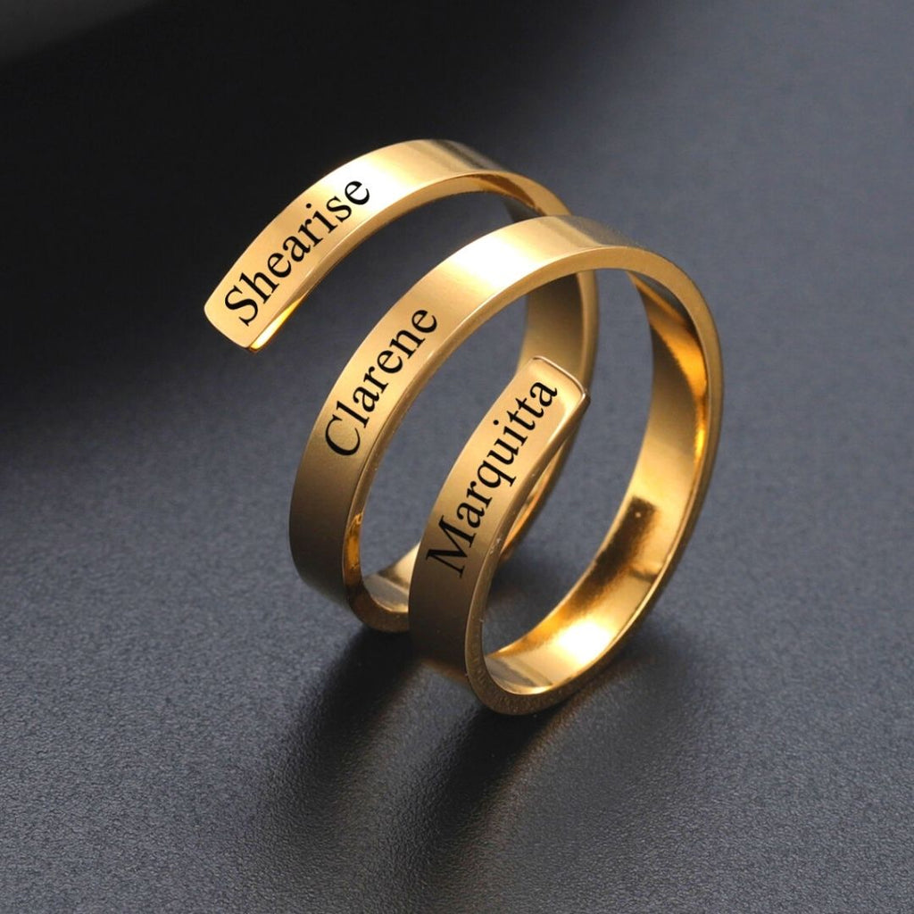 Personalized Adjustable 3 Name Ring - Personalized Jewellery