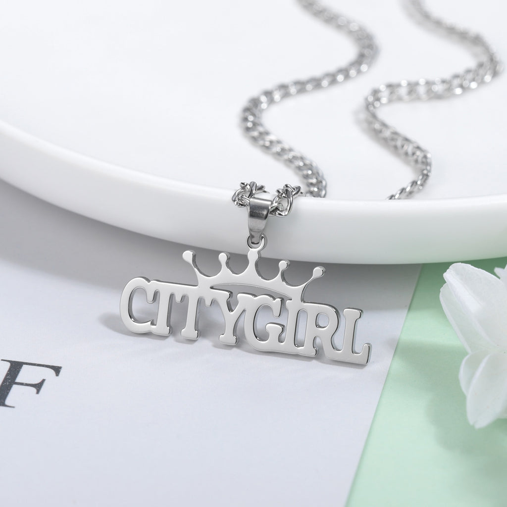 Personalized Crown Name Necklace - Personalized Jewellery
