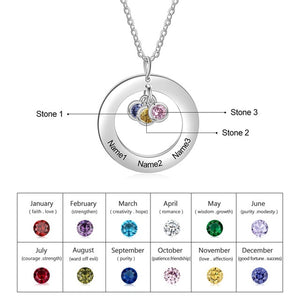 Personalized Birthstones Round Necklace - Personalized Jewellery