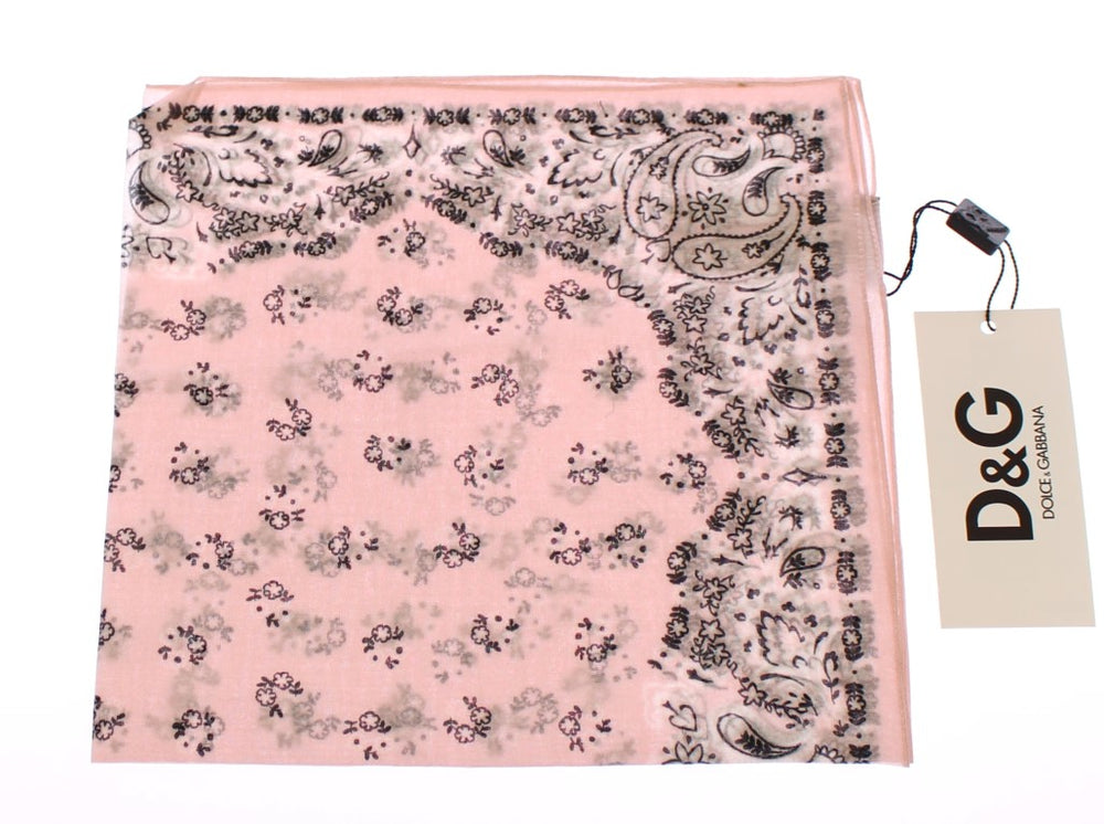 Pink Floral Pattern Cotton Scarf - EnModa.no