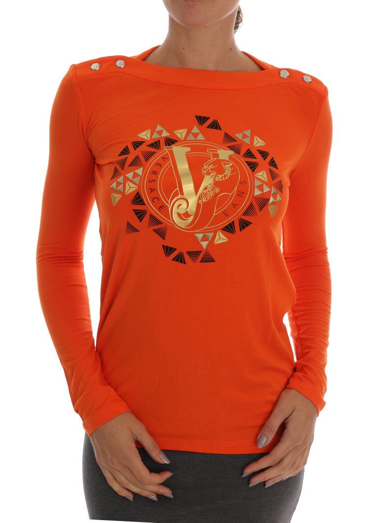 Orange Baroque Stretch Pullover Sweater