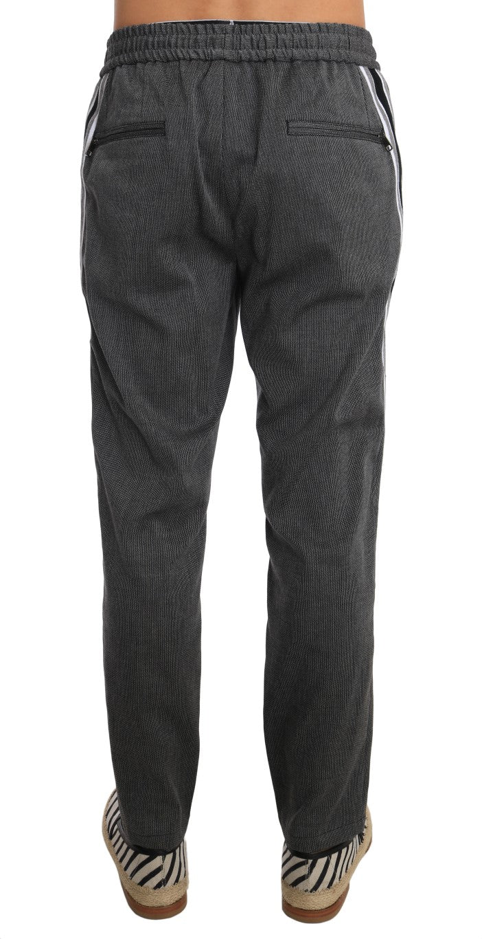 Gray Wool Casual White Strip Pants - EnModa.no