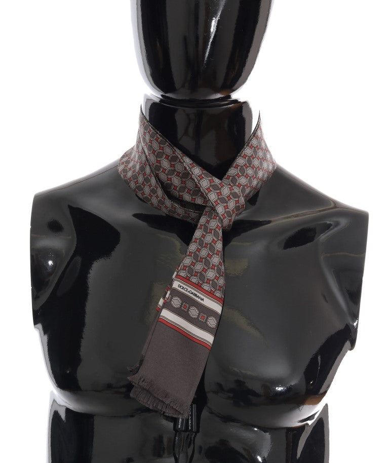 Gray Silk Red Pattern Scarf