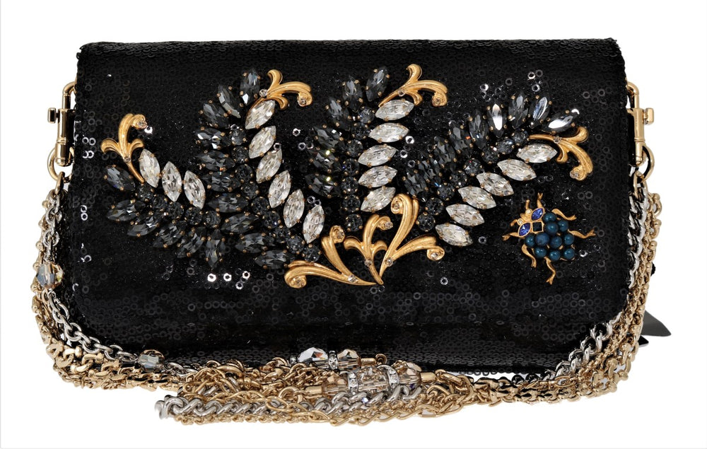 Black ANNA Sequined Crystal Clutch Bag