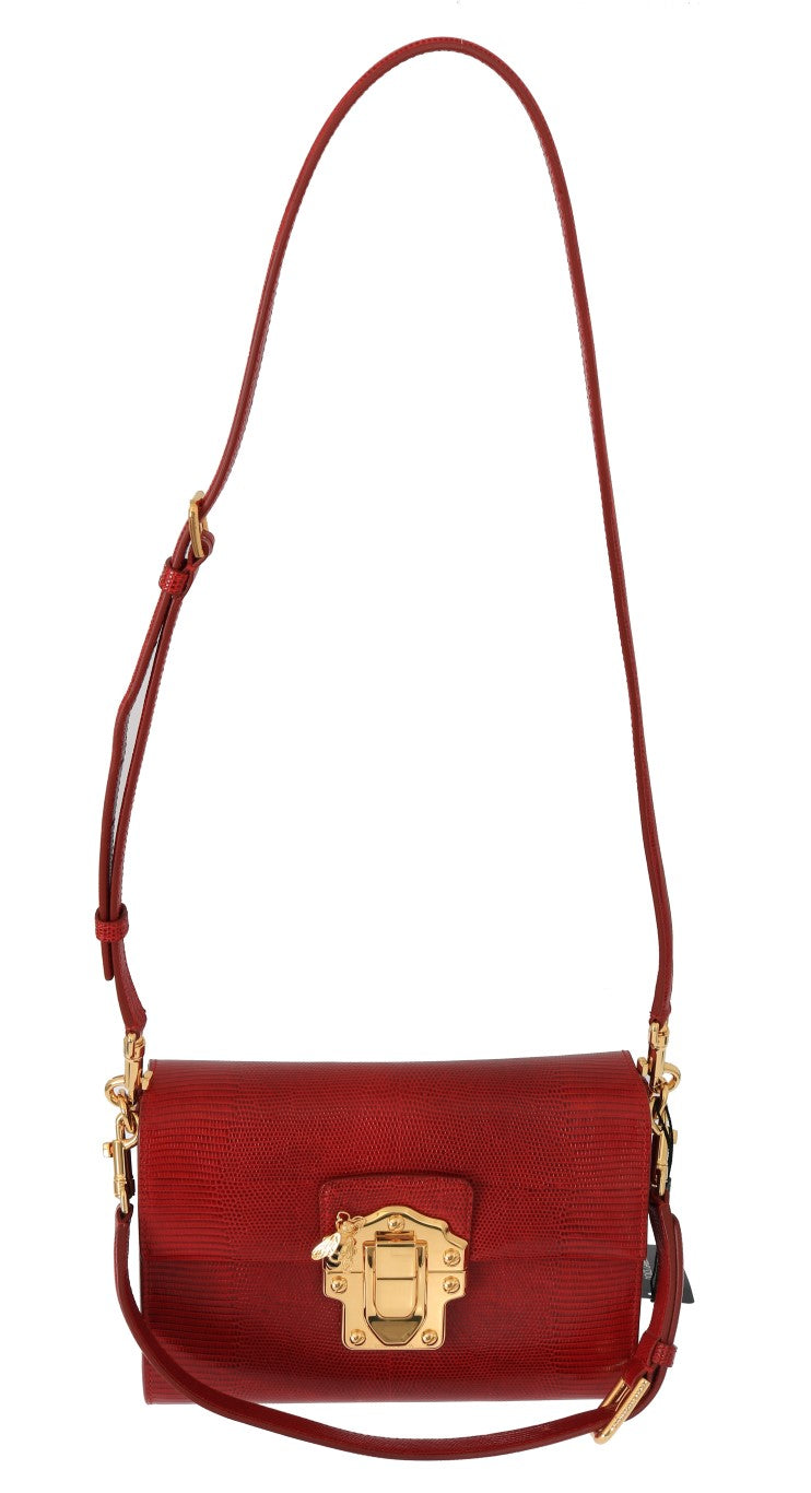Red Leather LUCIA Shoulder Messenger Bag