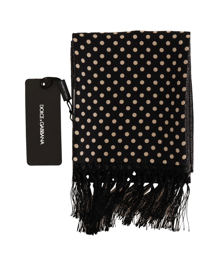 Black Beige Wool Silk Scarf