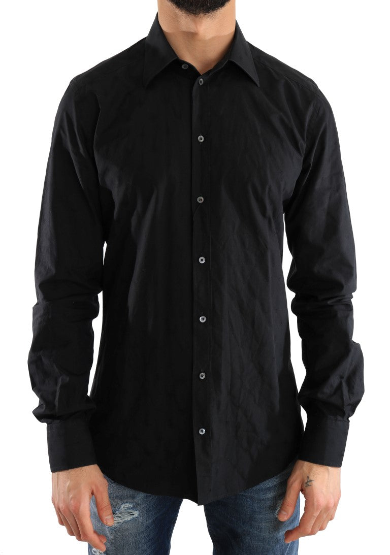 Black Dress GOLD Slim Fit Cotton Shirt