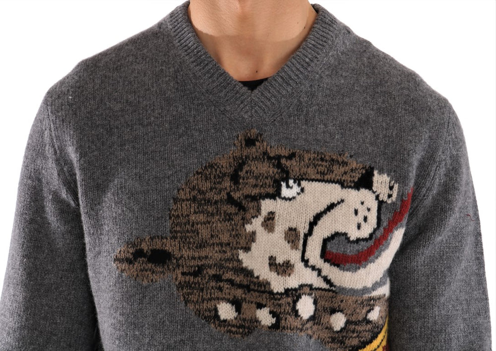 Gray Knitted Wool Sweater