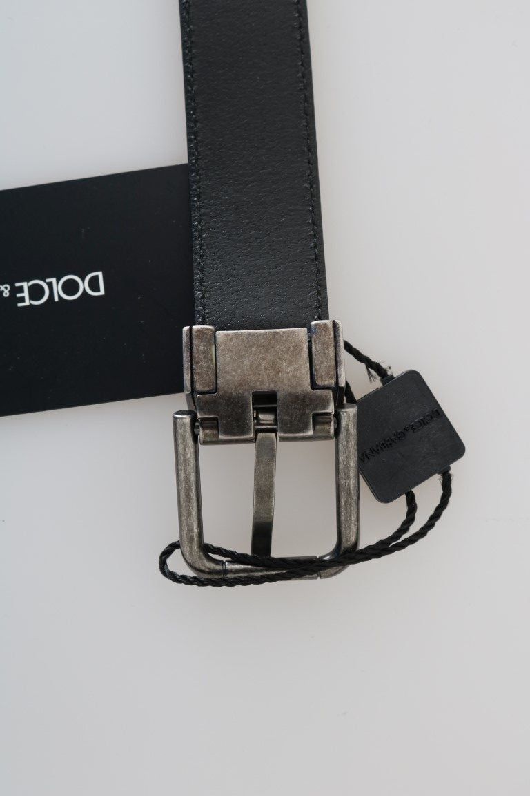 Black Leather Gray Brushed Buckle Belt