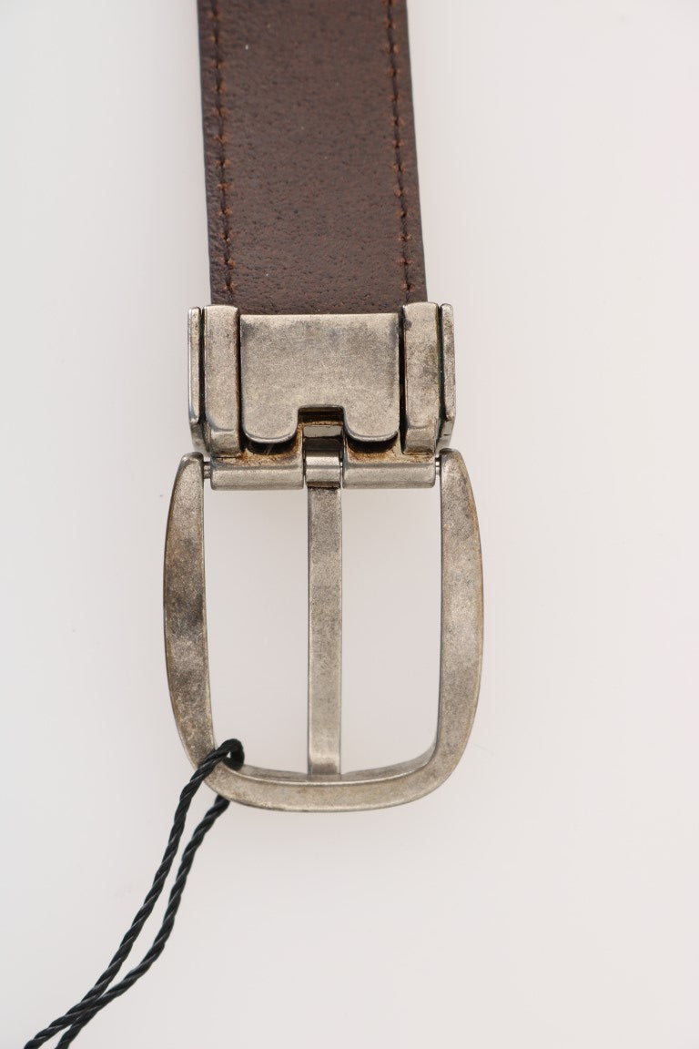 Brown Leather Gray Brushed Buckle Belt - EnModa.no