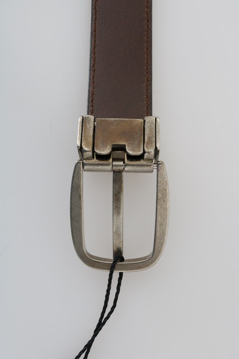 Brown Leather Gray Brushed Buckle Belt
