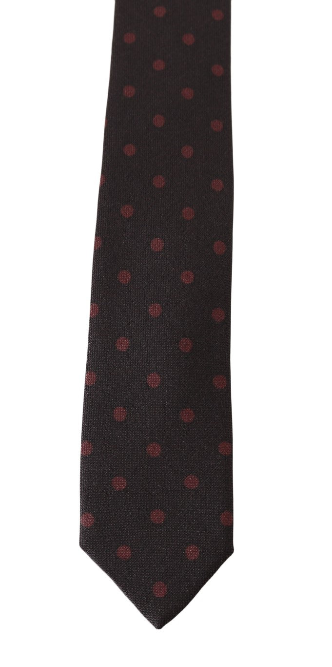 Brown Silk Red Polka Dot Print Slim Tie - EnModa.no