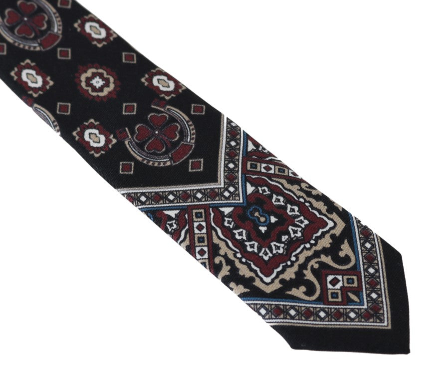 Black Silk Print Slim Tie