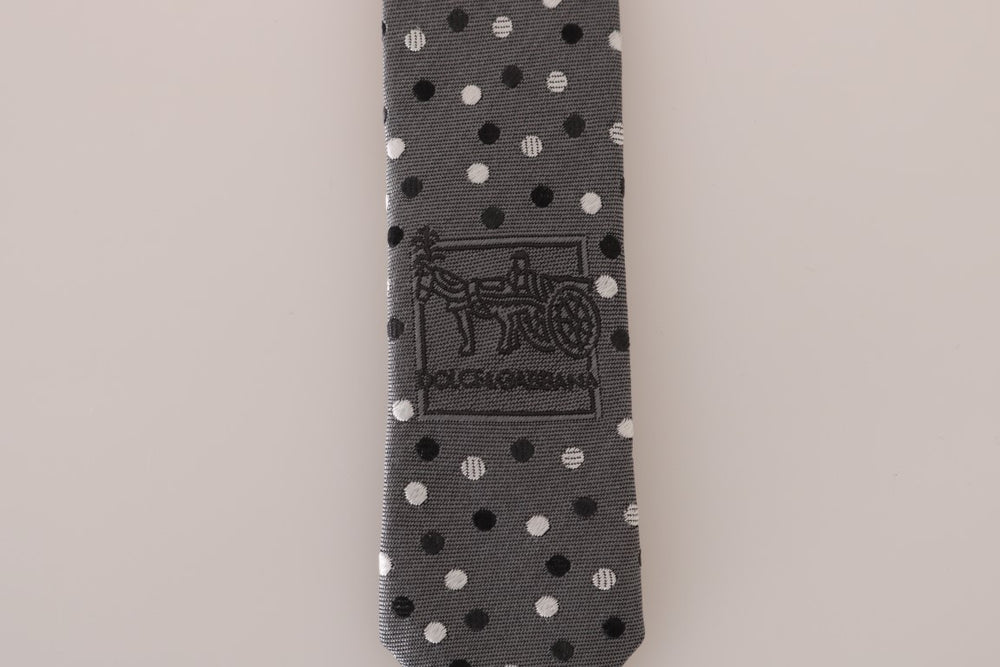 Gray Silk Black White Polka Dot Slim Tie