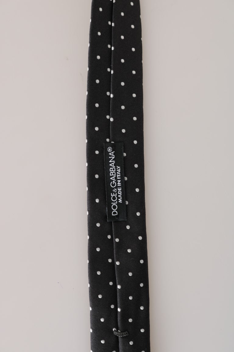 Black Silk White Polka Dot Print Slim Tie