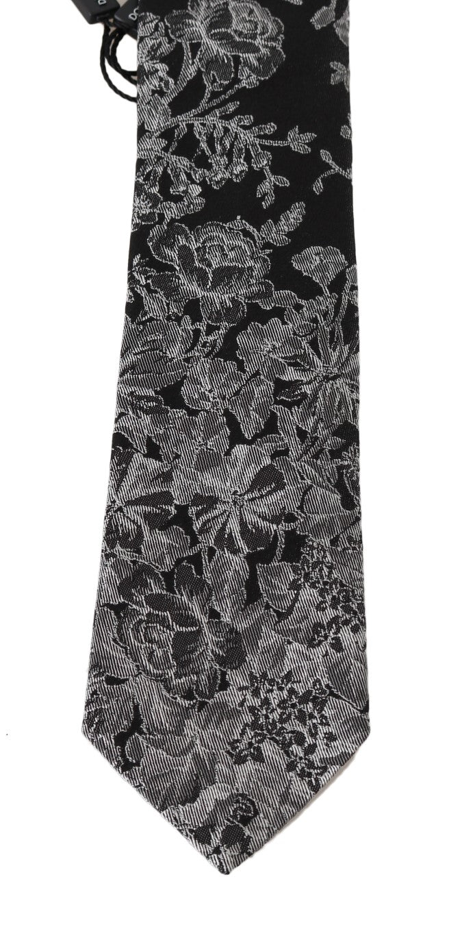 Gray Silk Floral Graphic Print Tie
