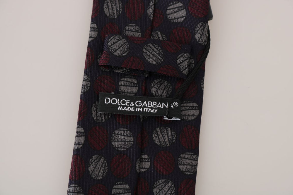 Blue Silk Red Gray Print Classic Tie