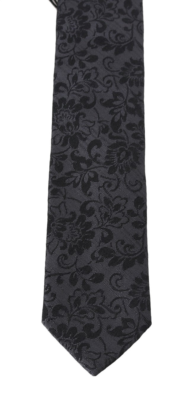Gray Silk Floral Pattern Classic Tie