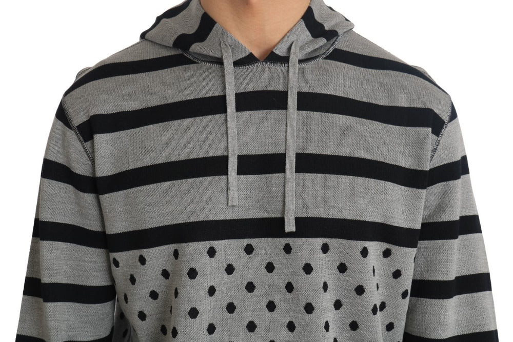 Gray Cotton Black Hooded Pullover Sweater