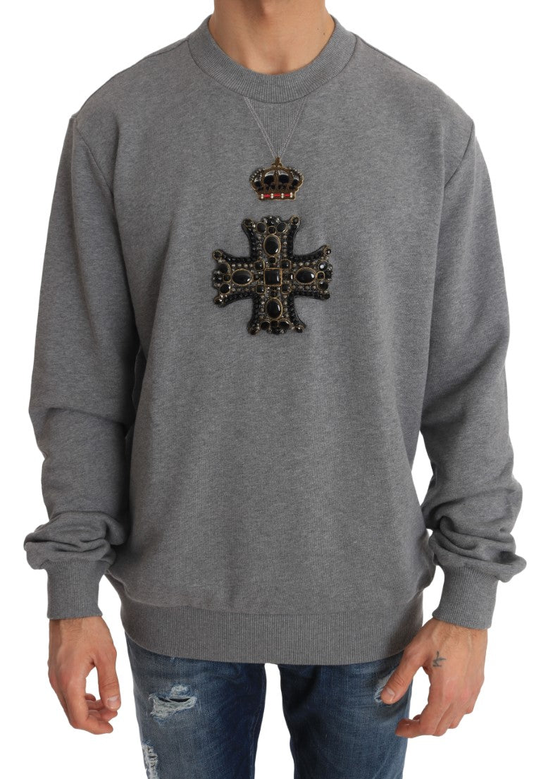 Gray Cotton Crystal Cross Crown Sweater