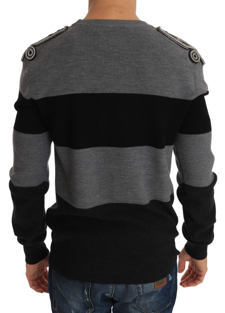 Gray Black Wool Knight Royal Crown Sweater