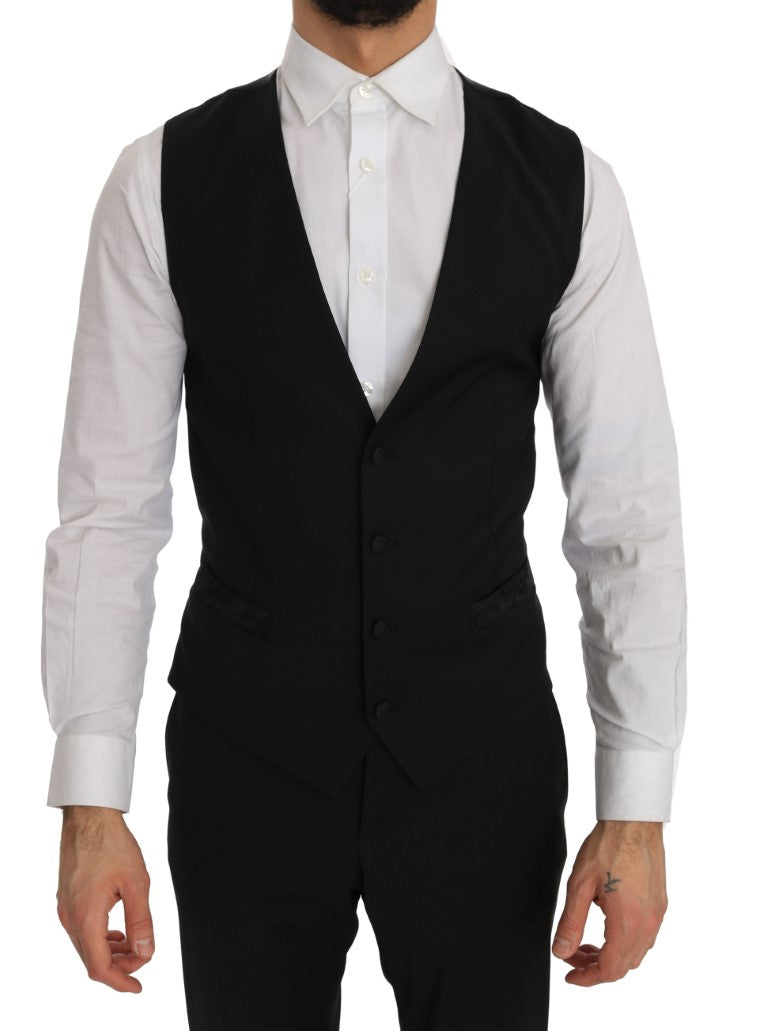 Black 3 Piece Slim Fit Blazer Vest Suit - EnModa.no