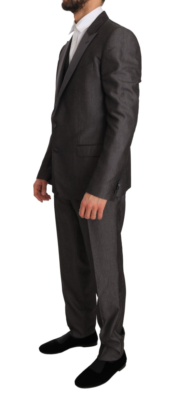 Gray Silk Wool MARTINI Slim Fit 3 Piece Suit - EnModa.no