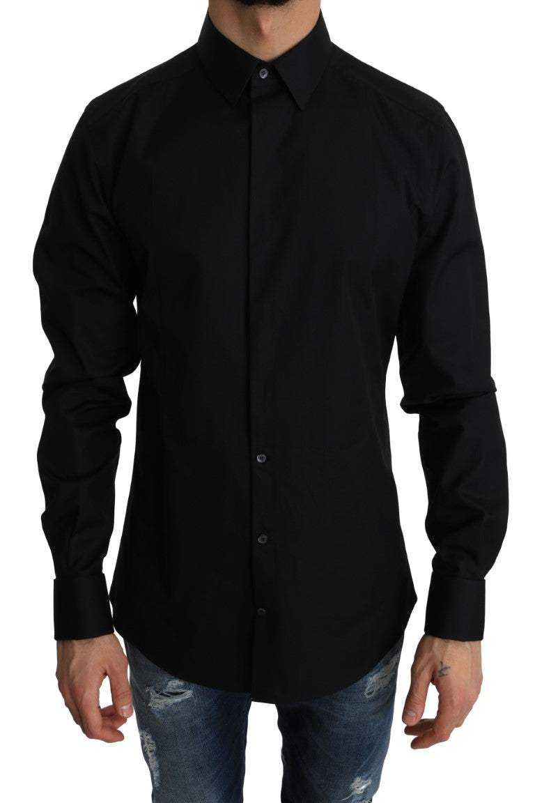 Black Cotton GOLD Slim Fit Shirt - EnModa.no