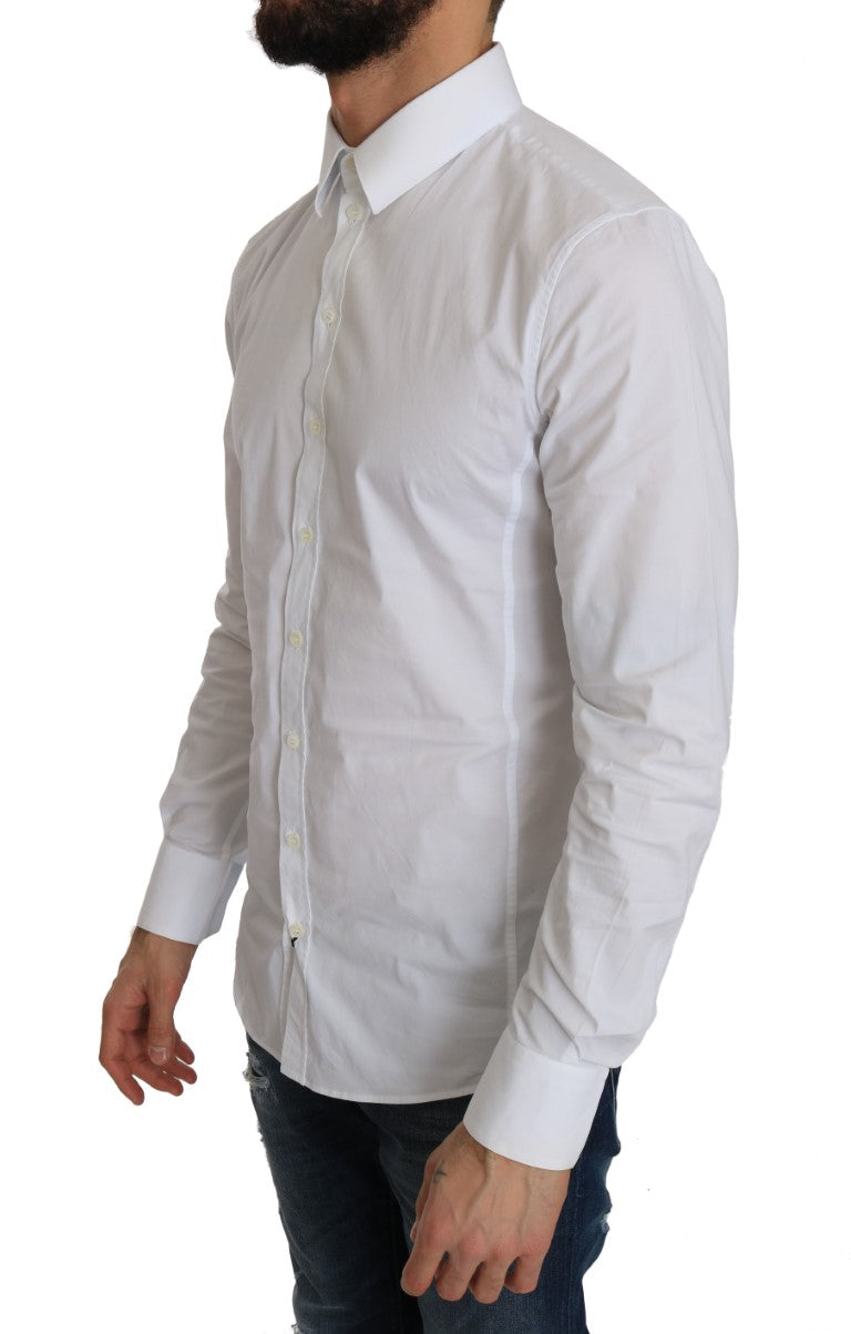 White Cotton SICILIA Stretch Slim Shirt - EnModa.no